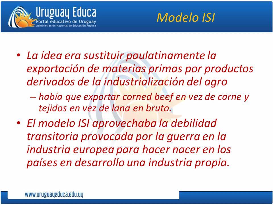 Modelo ISI La idea era sustituir paulatinamente la exportación de materias primas por productos derivados de la industrialización del agro.