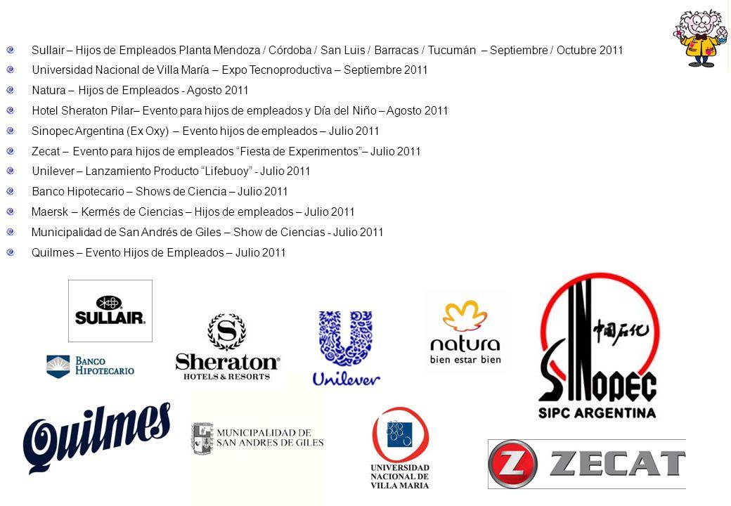 Sullair – Hijos de Empleados Planta Mendoza / Córdoba / San Luis / Barracas / Tucumán – Septiembre / Octubre 2011