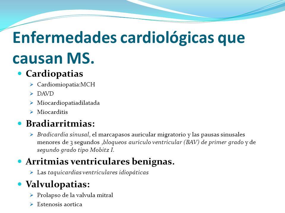 Enfermedades cardiológicas que causan MS.