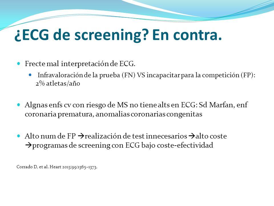 ¿ECG de screening En contra.