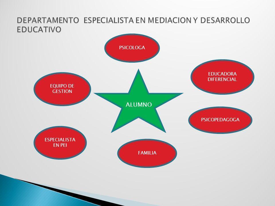 DEPARTAMENTO ESPECIALISTA EN MEDIACION Y DESARROLLO EDUCATIVO