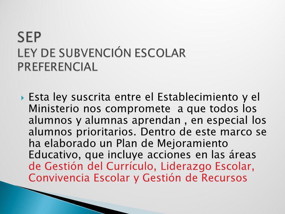 SEP LEY DE SUBVENCIÓN ESCOLAR PREFERENCIAL