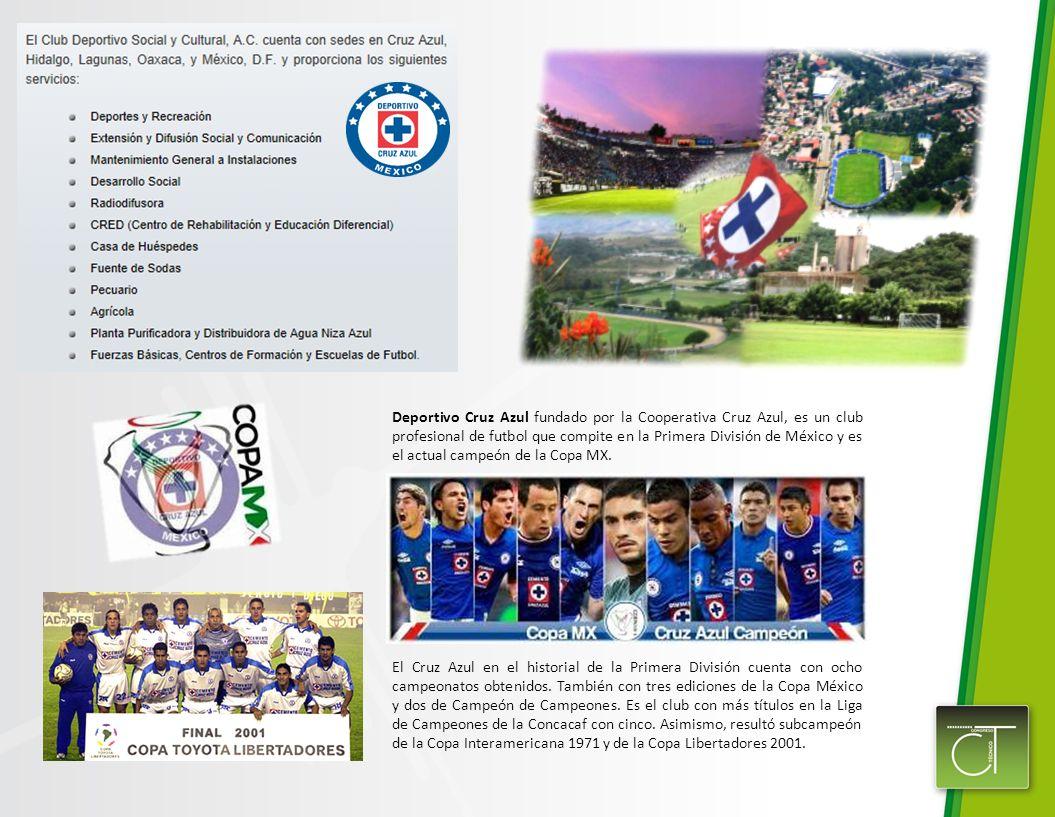 Deportivo Cruz Azul fundado por la Cooperativa Cruz Azul, es un club profesional de futbol que compite en la Primera División de México y es el actual campeón de la Copa MX.