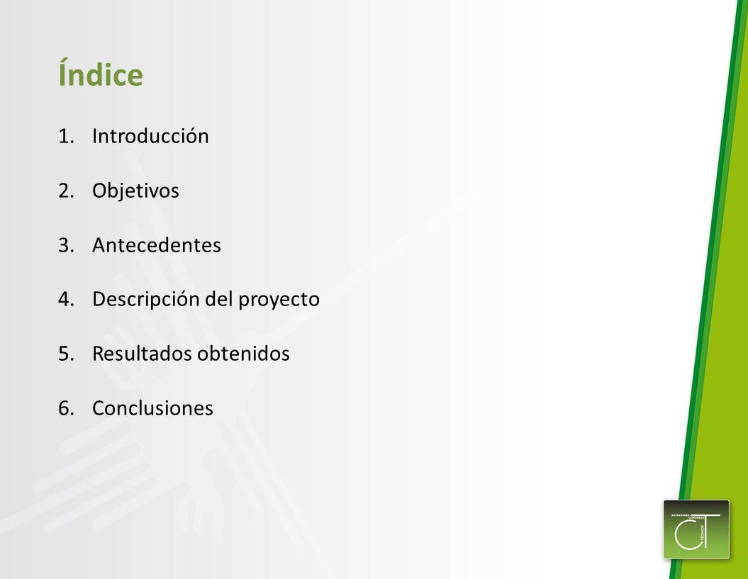 Índice Introducción Objetivos Antecedentes 4. Descripción del proyecto