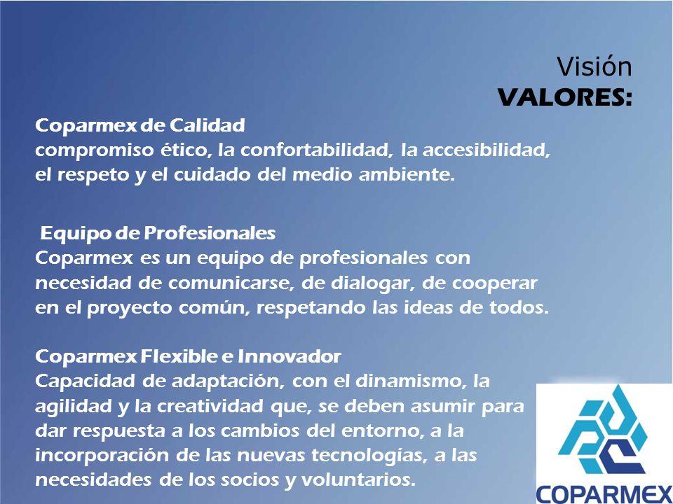 Visión VALORES: Coparmex de Calidad compromiso ético, la confortabilidad, la accesibilidad, el respeto y el cuidado del medio ambiente.