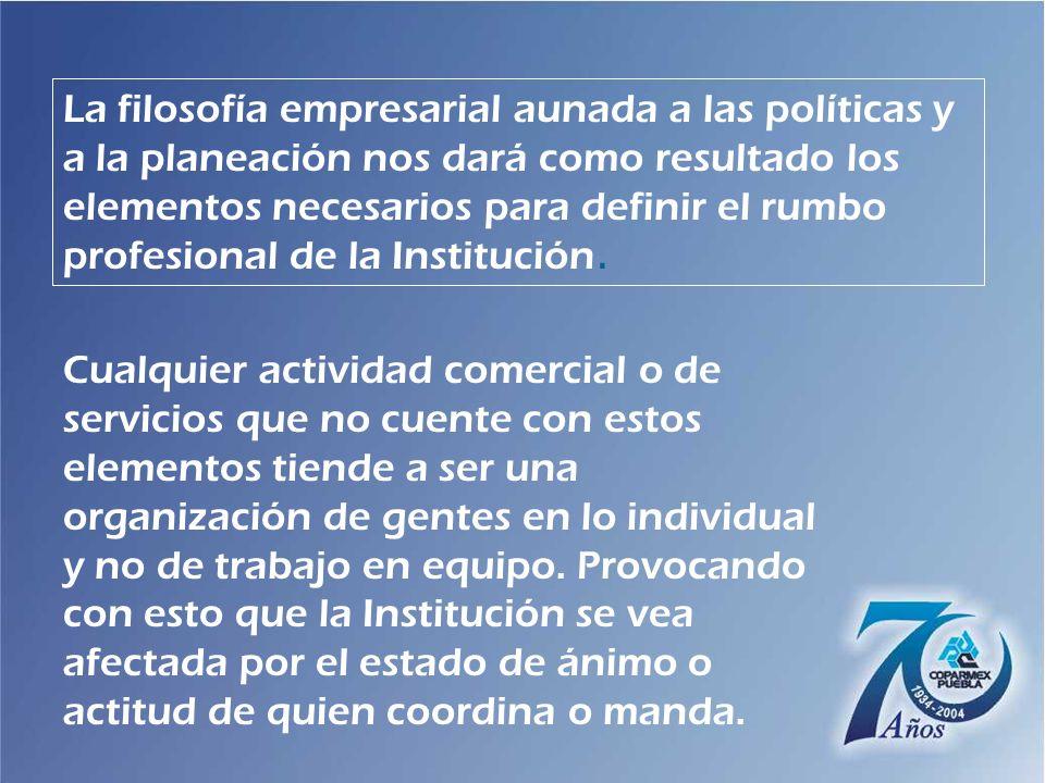 La filosofía empresarial aunada a las políticas y a la planeación nos dará como resultado los elementos necesarios para definir el rumbo profesional de la Institución.