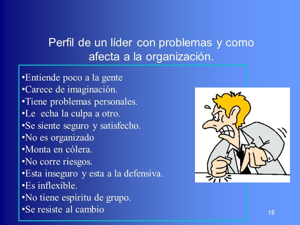 Perfil de un líder con problemas y como afecta a la organización.