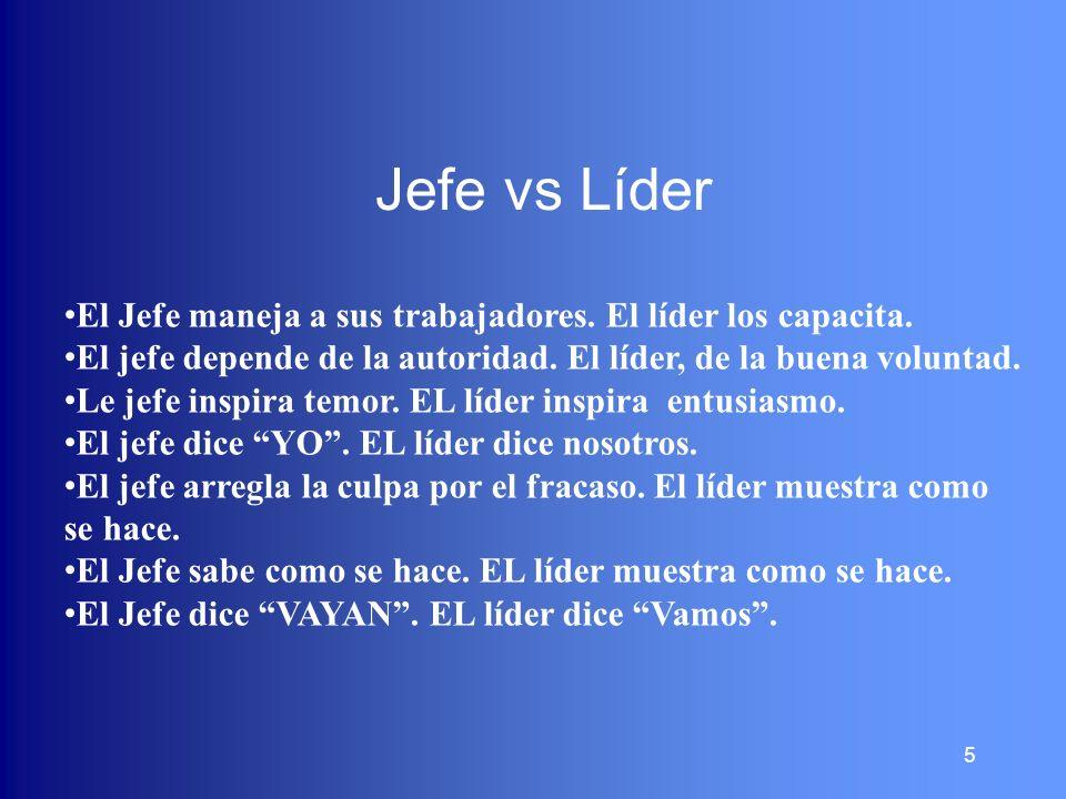 Jefe vs Líder El Jefe maneja a sus trabajadores. El líder los capacita. El jefe depende de la autoridad. El líder, de la buena voluntad.