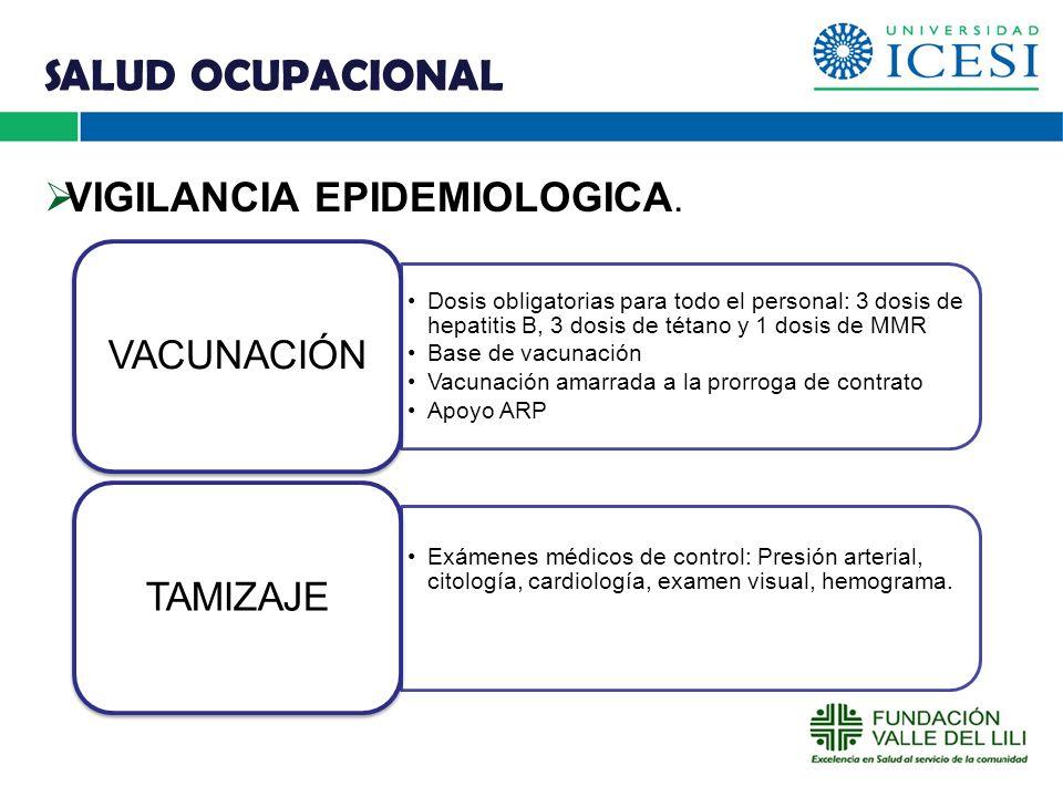 SALUD OCUPACIONAL VIGILANCIA EPIDEMIOLOGICA. O VACUNACIÓN