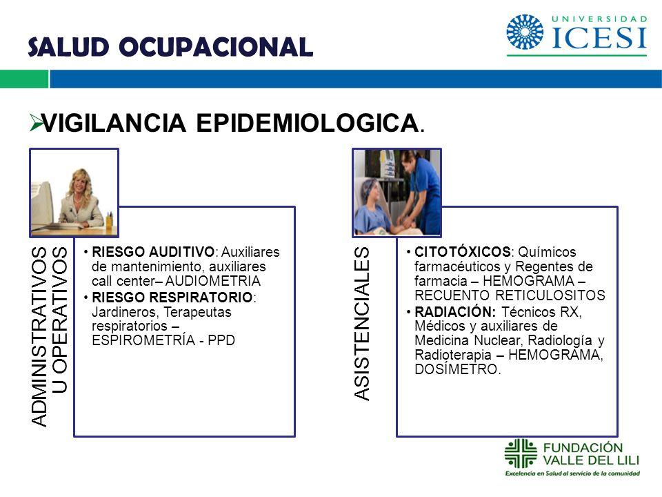 SALUD OCUPACIONAL VIGILANCIA EPIDEMIOLOGICA. O