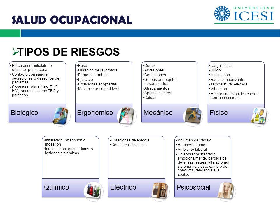 SALUD OCUPACIONAL TIPOS DE RIESGOS Biológico Ergonómico Mecánico