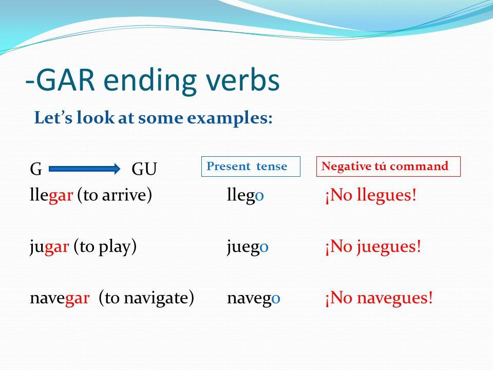 -GAR ending verbs