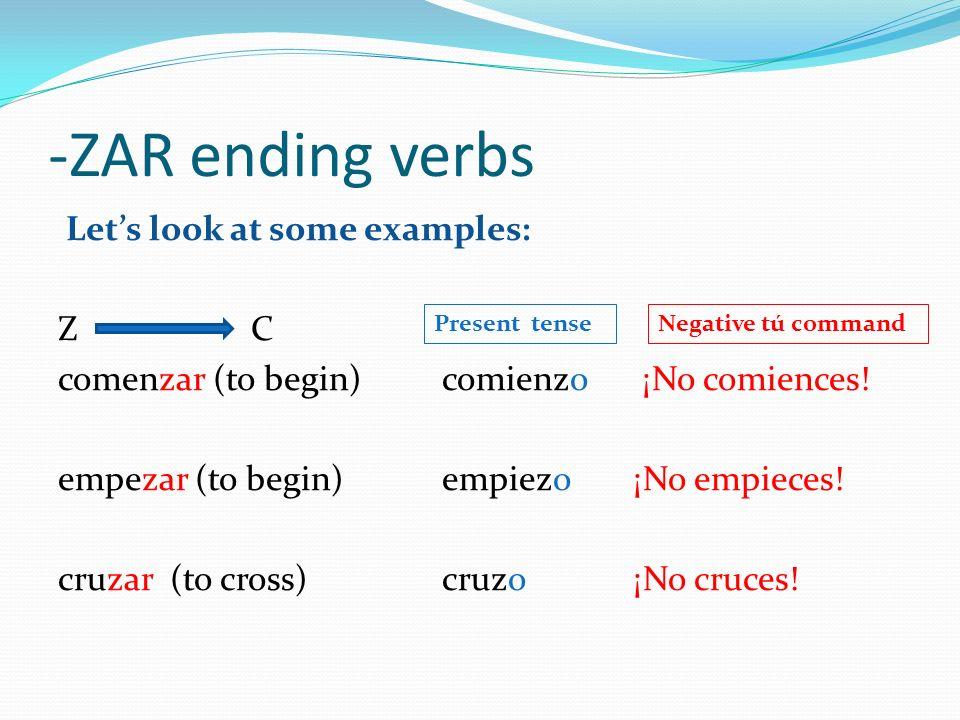 -ZAR ending verbs