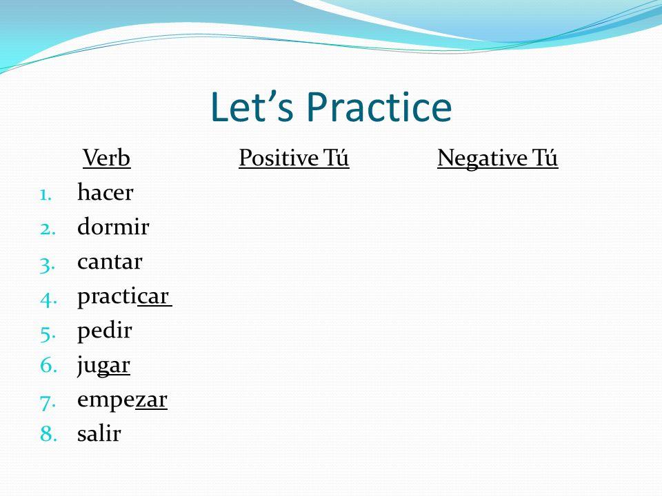 Let's Practice Verb Positive Tú Negative Tú hacer dormir cantar