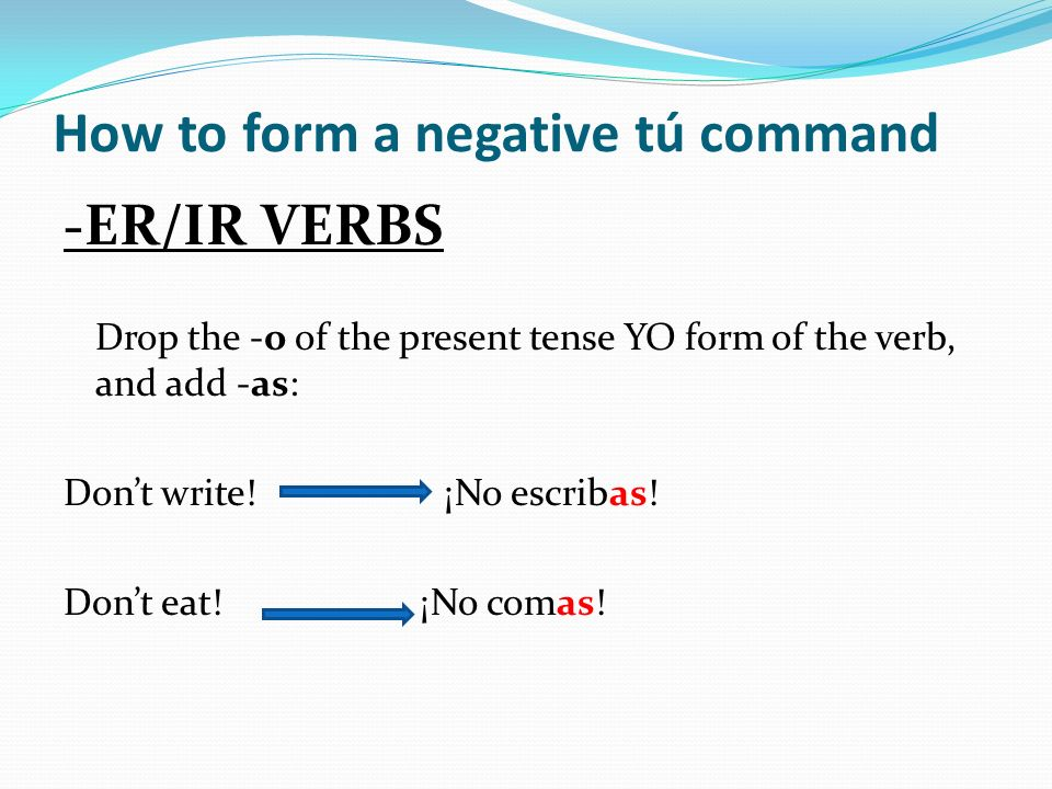 How to form a negative tú command
