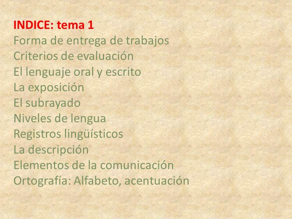 INDICE: tema 1 Forma de entrega de trabajos. Criterios de evaluación. El lenguaje oral y escrito.
