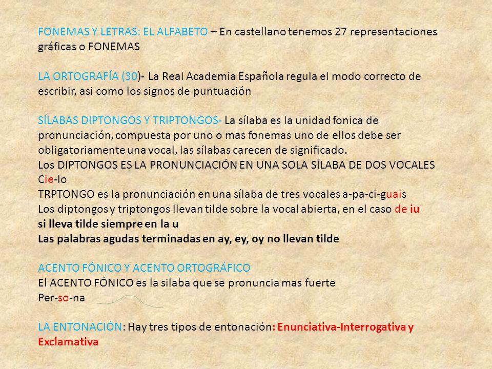 FONEMAS Y LETRAS: EL ALFABETO – En castellano tenemos 27 representaciones gráficas o FONEMAS