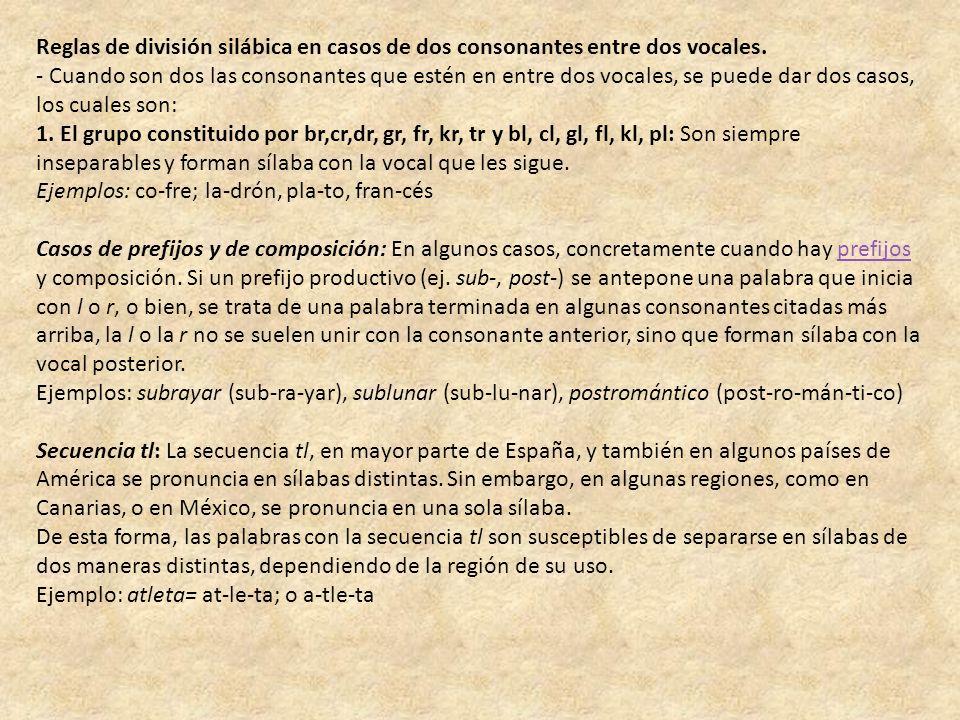 Reglas de división silábica en casos de dos consonantes entre dos vocales.