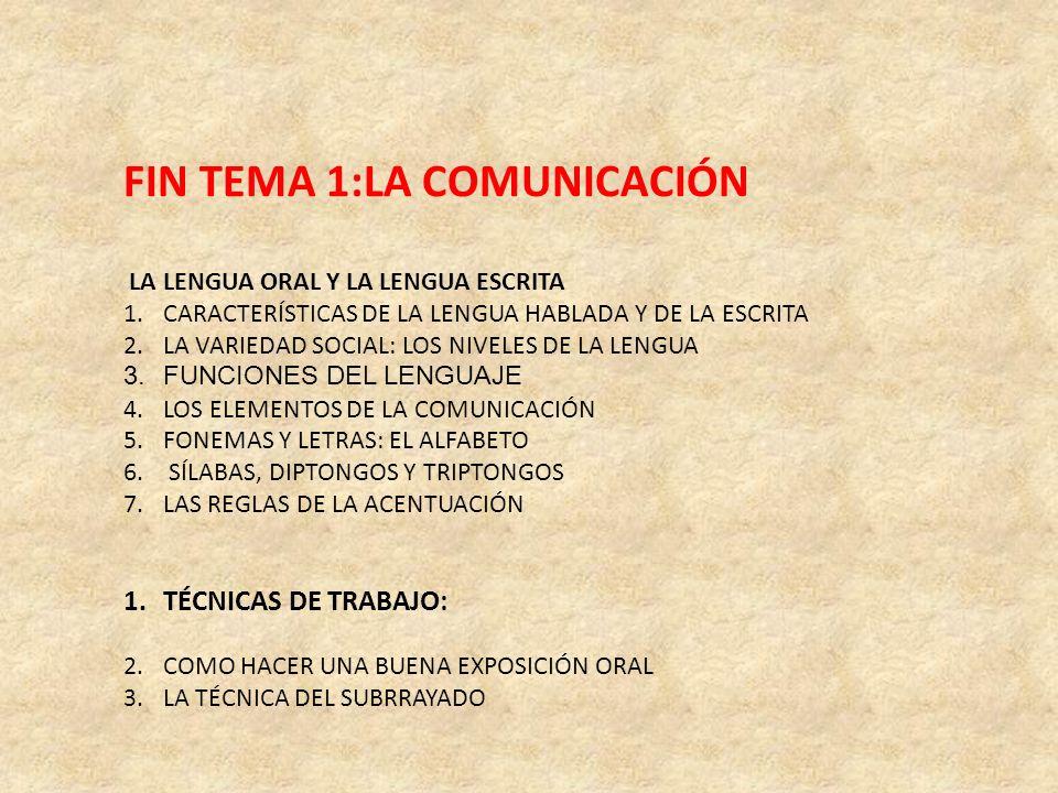 FIN TEMA 1:LA COMUNICACIÓN