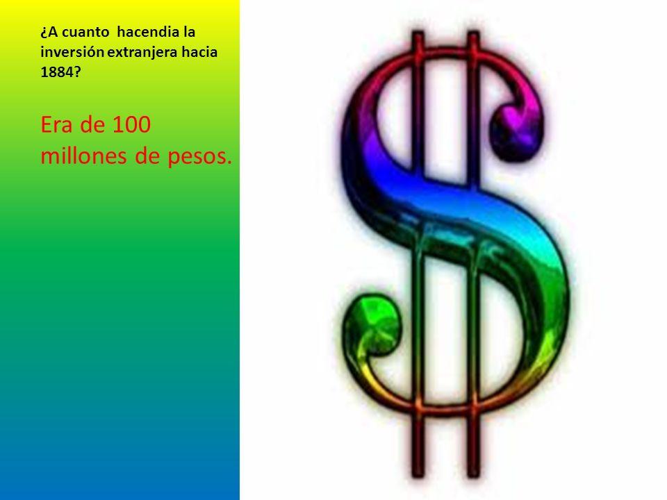 ¿A cuanto hacendia la inversión extranjera hacia 1884