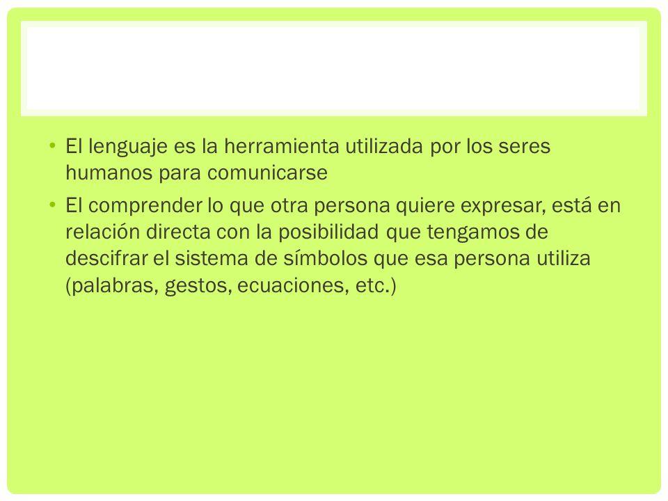 El lenguaje es la herramienta utilizada por los seres humanos para comunicarse