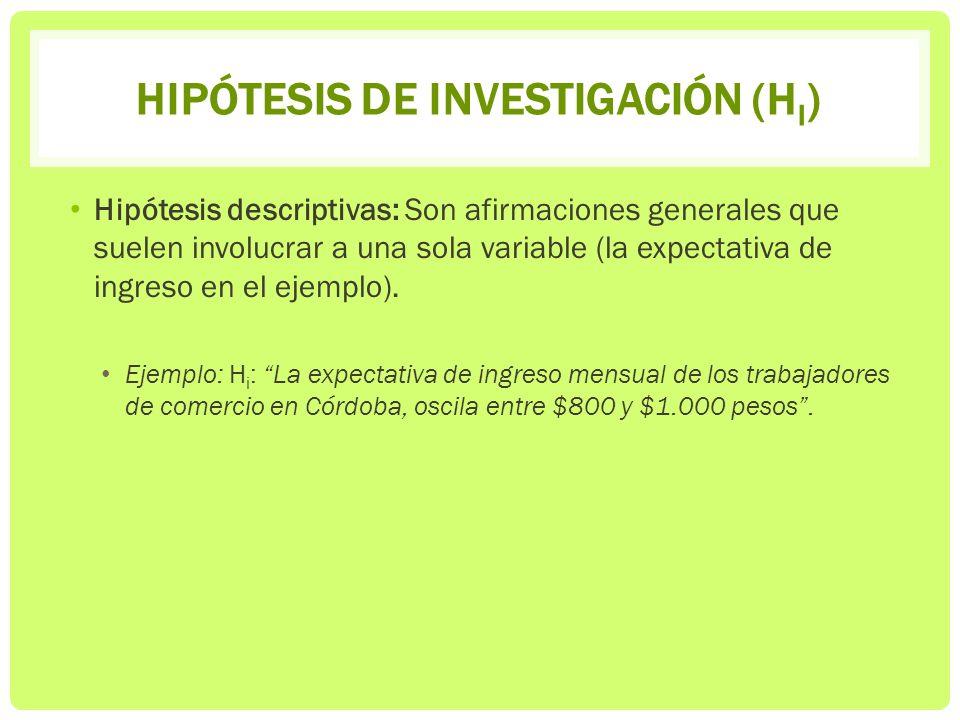 Hipótesis de investigación (Hi)