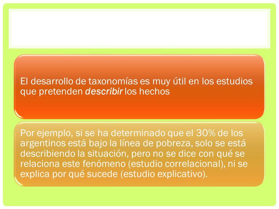 El desarrollo de taxonomías es muy útil en los estudios que pretenden describir los hechos