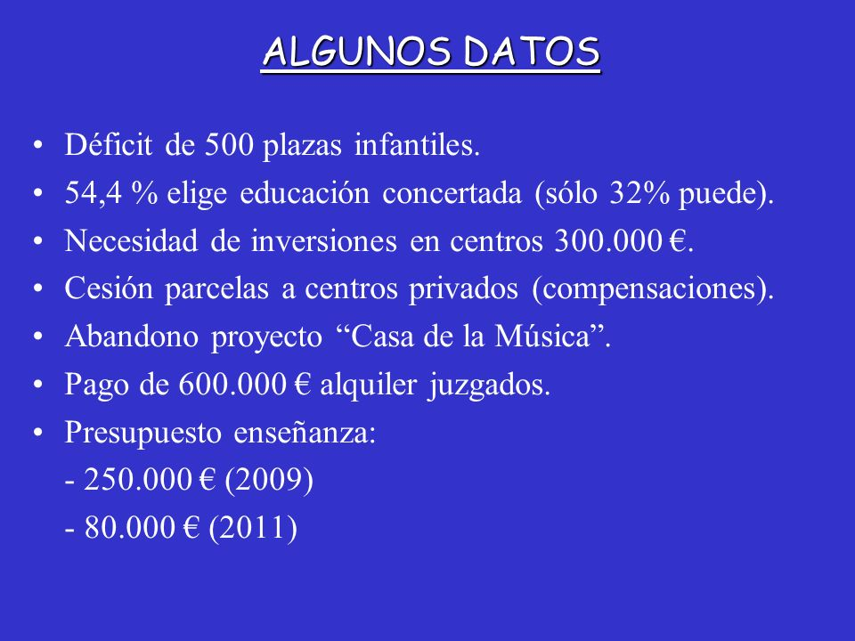 ALGUNOS DATOS Déficit de 500 plazas infantiles.