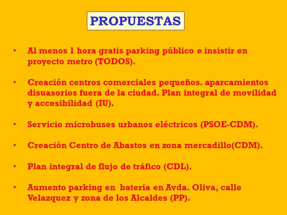PROPUESTAS Al menos 1 hora gratis parking público e insistir en proyecto metro (TODOS).