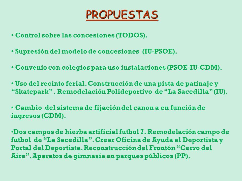 PROPUESTAS Control sobre las concesiones (TODOS).
