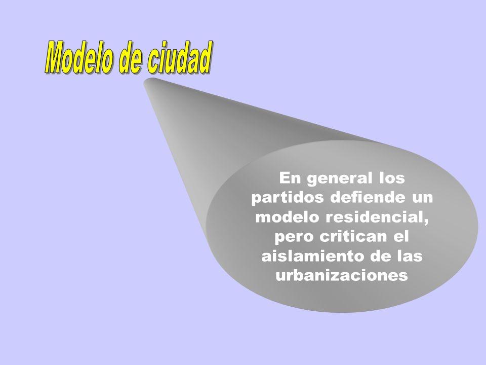 Modelo de ciudad En general los partidos defiende un modelo residencial, pero critican el aislamiento de las urbanizaciones.