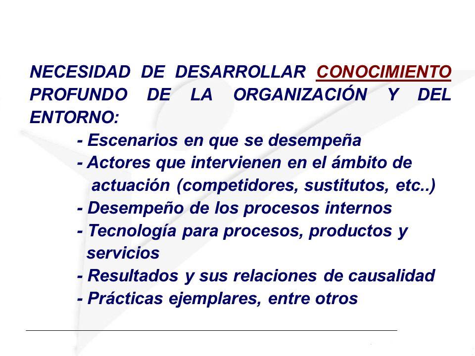 NECESIDAD DE DESARROLLAR CONOCIMIENTO PROFUNDO DE LA ORGANIZACIÓN Y DEL ENTORNO: