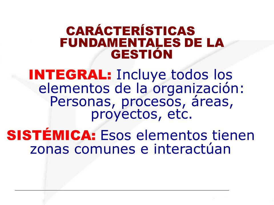 CARÁCTERÍSTICAS FUNDAMENTALES DE LA GESTIÓN