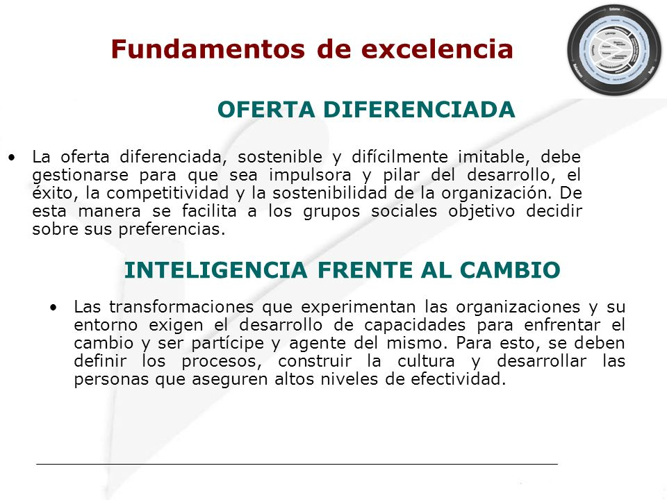 Fundamentos de excelencia INTELIGENCIA FRENTE AL CAMBIO