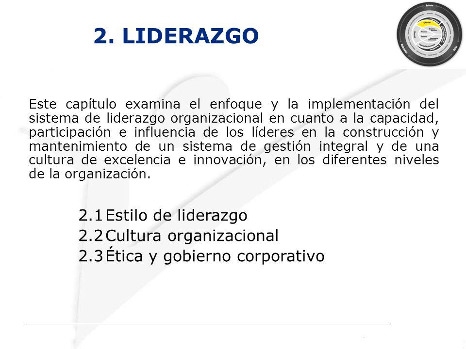 2. LIDERAZGO 2.1 Estilo de liderazgo 2.2 Cultura organizacional