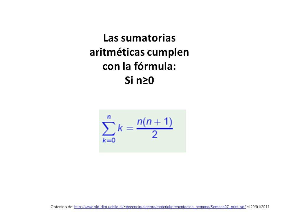 Las sumatorias aritméticas cumplen con la fórmula: Si n≥0
