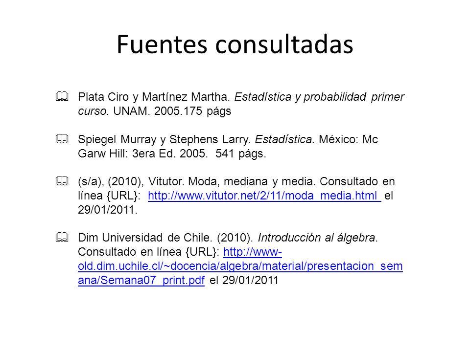 Fuentes consultadas Plata Ciro y Martínez Martha. Estadística y probabilidad primer curso. UNAM. 2005.175 págs.