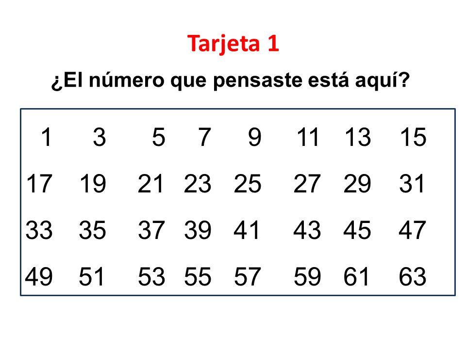 Tarjeta 1 ¿El número que pensaste está aquí 1 3 5 7 9 11 13 15. 17 19 21 23 25 27 29 31. 33 35 37 39 41 43 45 47.