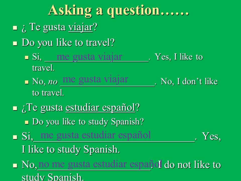 Asking a question…… ¿ Te gusta viajar Do you like to travel
