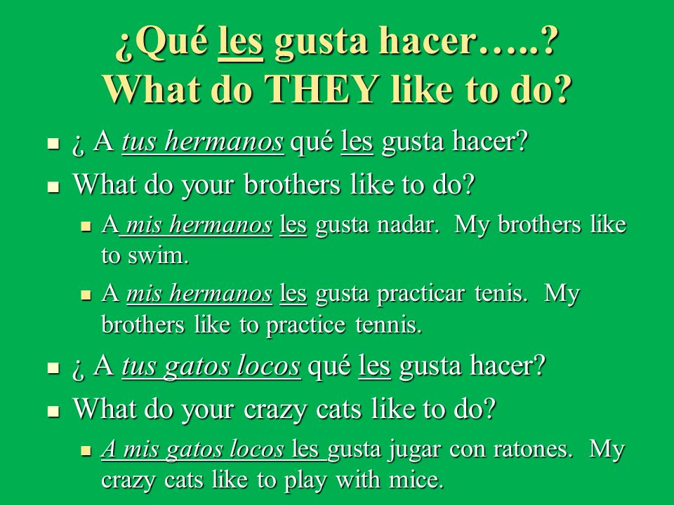 ¿Qué les gusta hacer….. What do THEY like to do