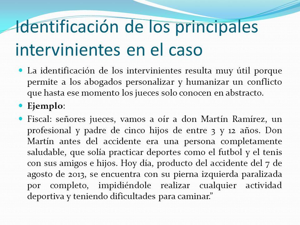Identificación de los principales intervinientes en el caso