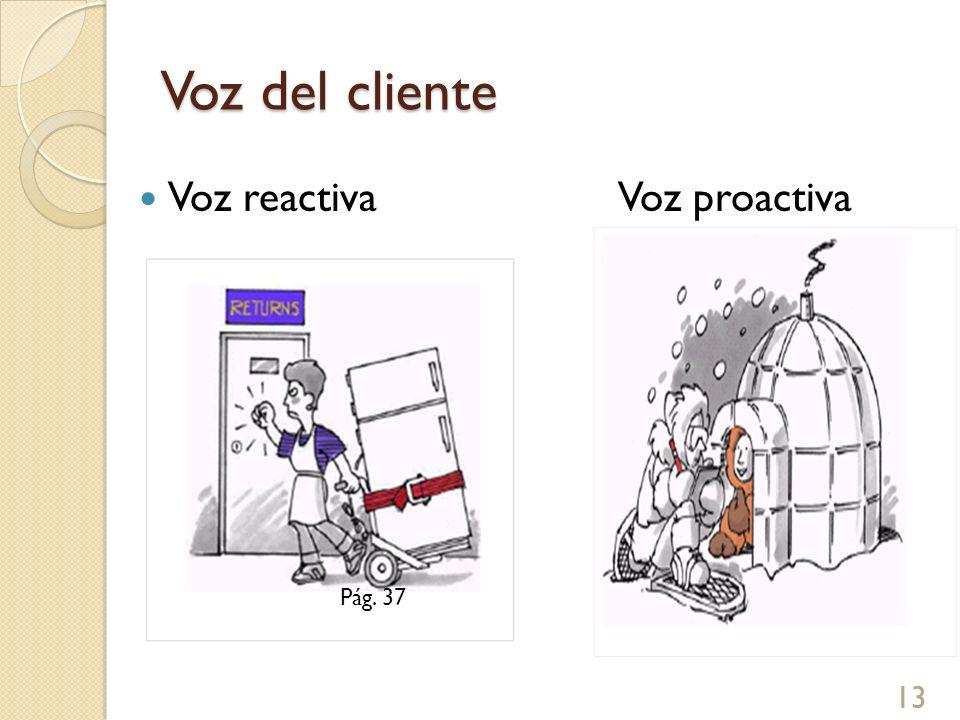 Voz del cliente Voz reactiva Voz proactiva Pág. 37