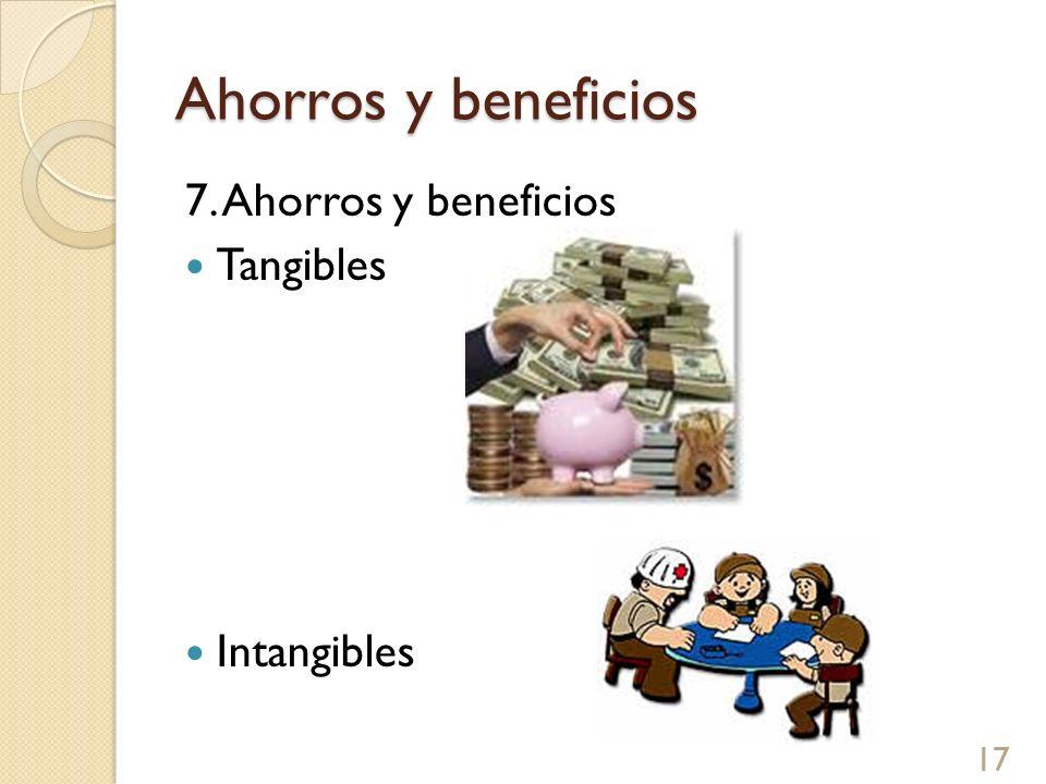 Ahorros y beneficios 7. Ahorros y beneficios Tangibles Intangibles