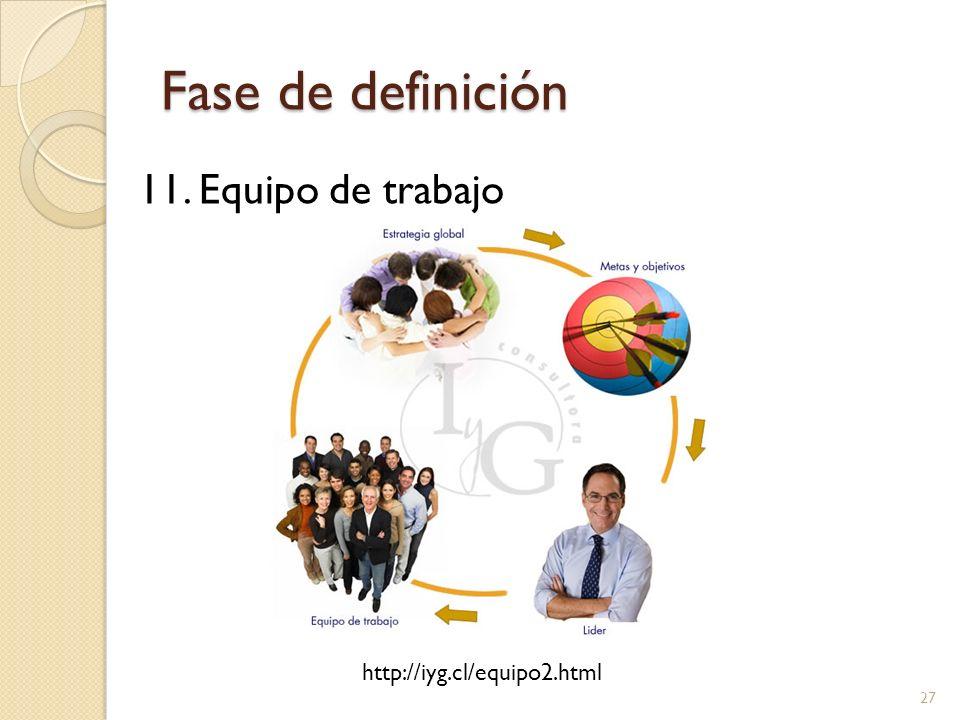 Fase de definición 11. Equipo de trabajo http://iyg.cl/equipo2.html
