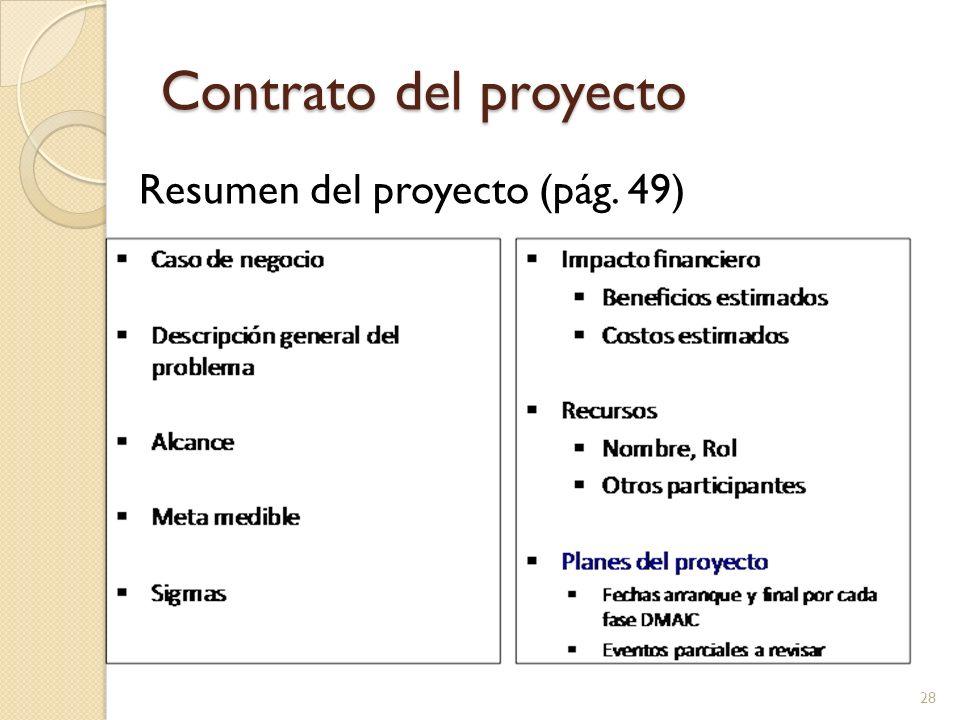 Contrato del proyecto Resumen del proyecto (pág. 49)