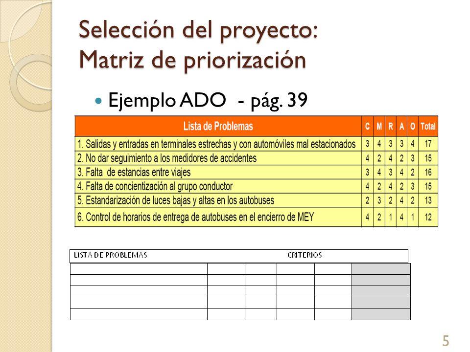 Selección del proyecto: Matriz de priorización