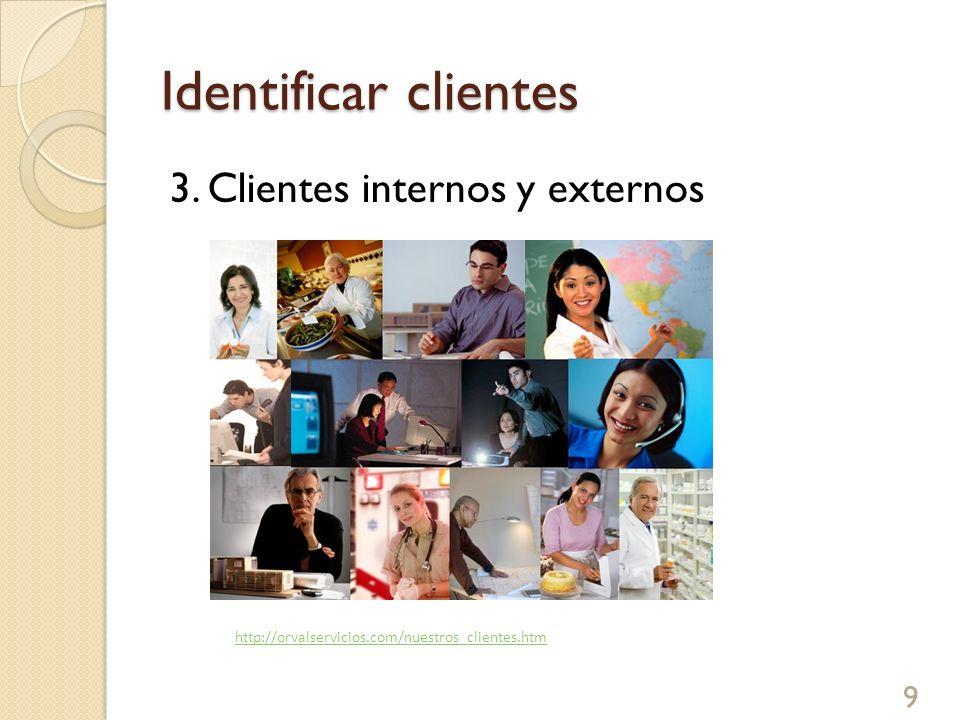 Identificar clientes 3. Clientes internos y externos