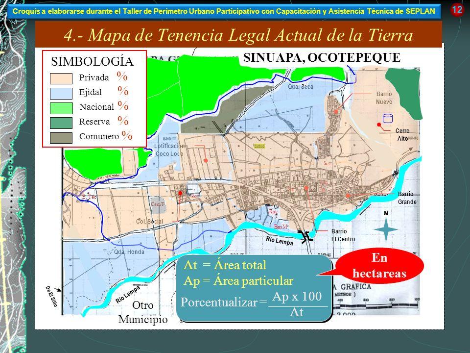 4.- Mapa de Tenencia Legal Actual de la Tierra