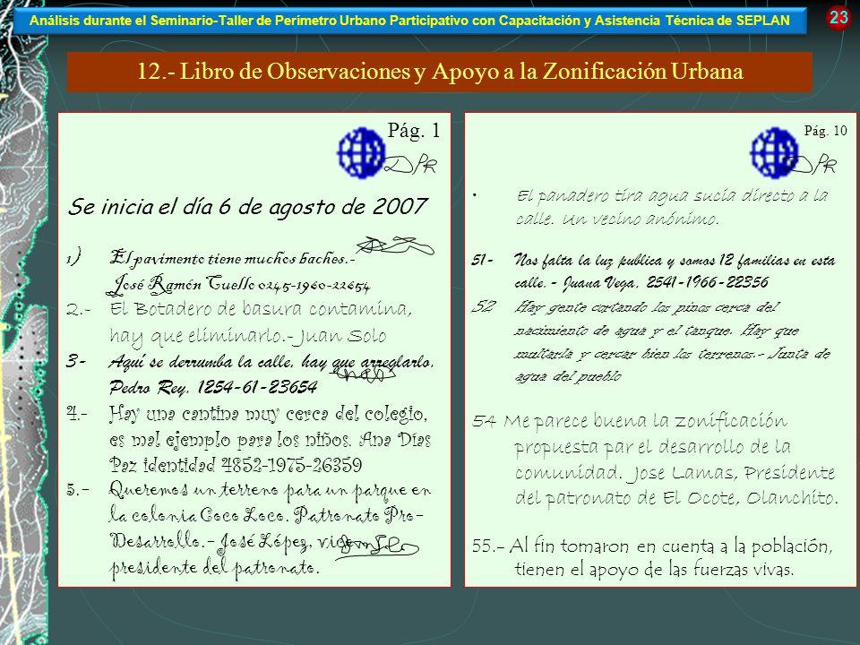 12.- Libro de Observaciones y Apoyo a la Zonificación Urbana