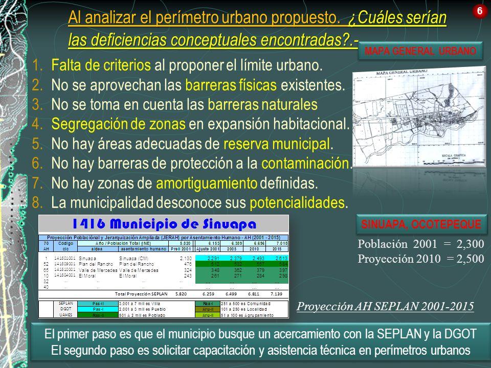 6 Al analizar el perímetro urbano propuesto. ¿Cuáles serían las deficiencias conceptuales encontradas .-